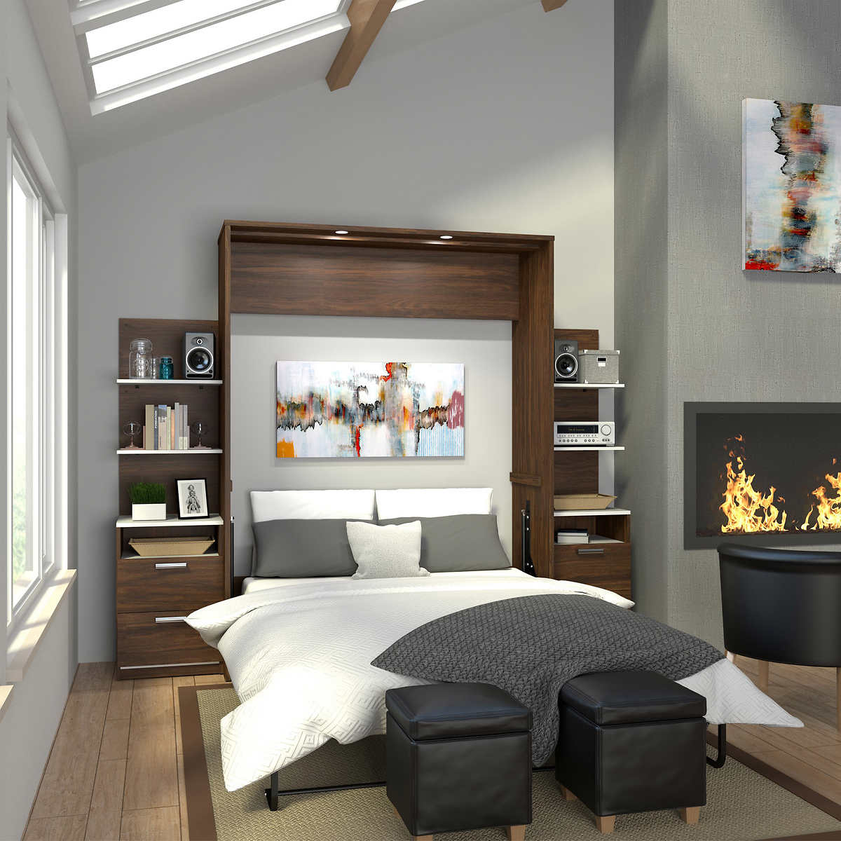 Cielo queen wall bed in oak with two side storage towers click to zoom amipublicfo Image collections