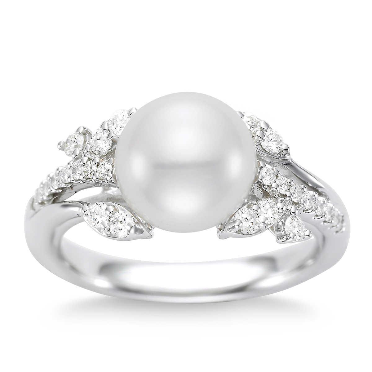 Freshwater 995mm Pearl & Diamond 14kt White Gold Ring