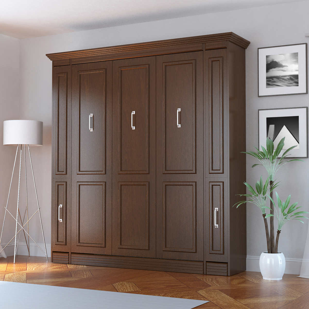 Pictures of murphy beds - Bed Room Porter Queen Portrait Wall Bed With Internal Storage In Walnut