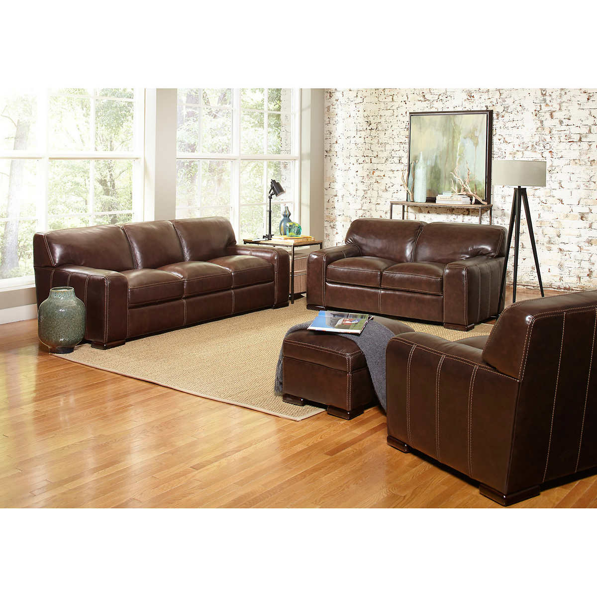 Carreyton 4 Piece Top Grain Leather Living Room Set