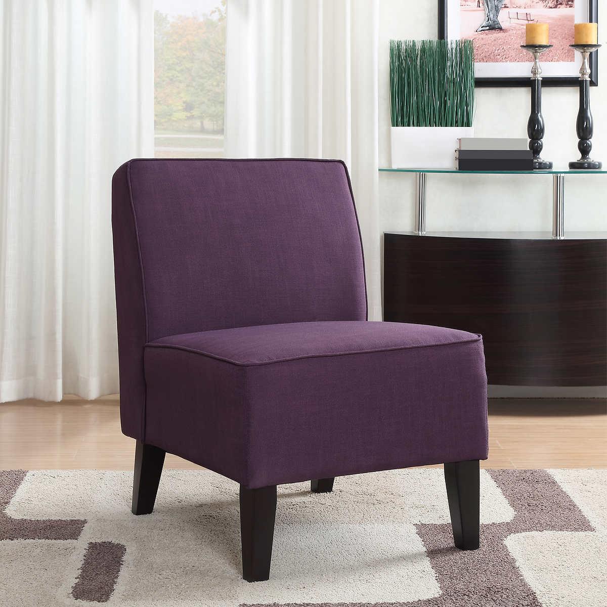 Roxbury Fabric Slipper Chair in Purple - Chairs Costco