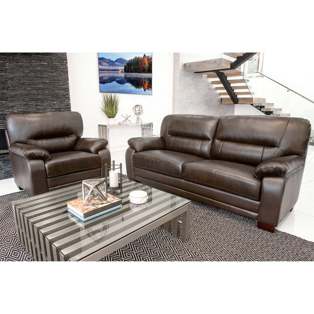 Click to Zoom. Brentwood 2 piece Top Grain Leather Sofa and Chair Living Room Set