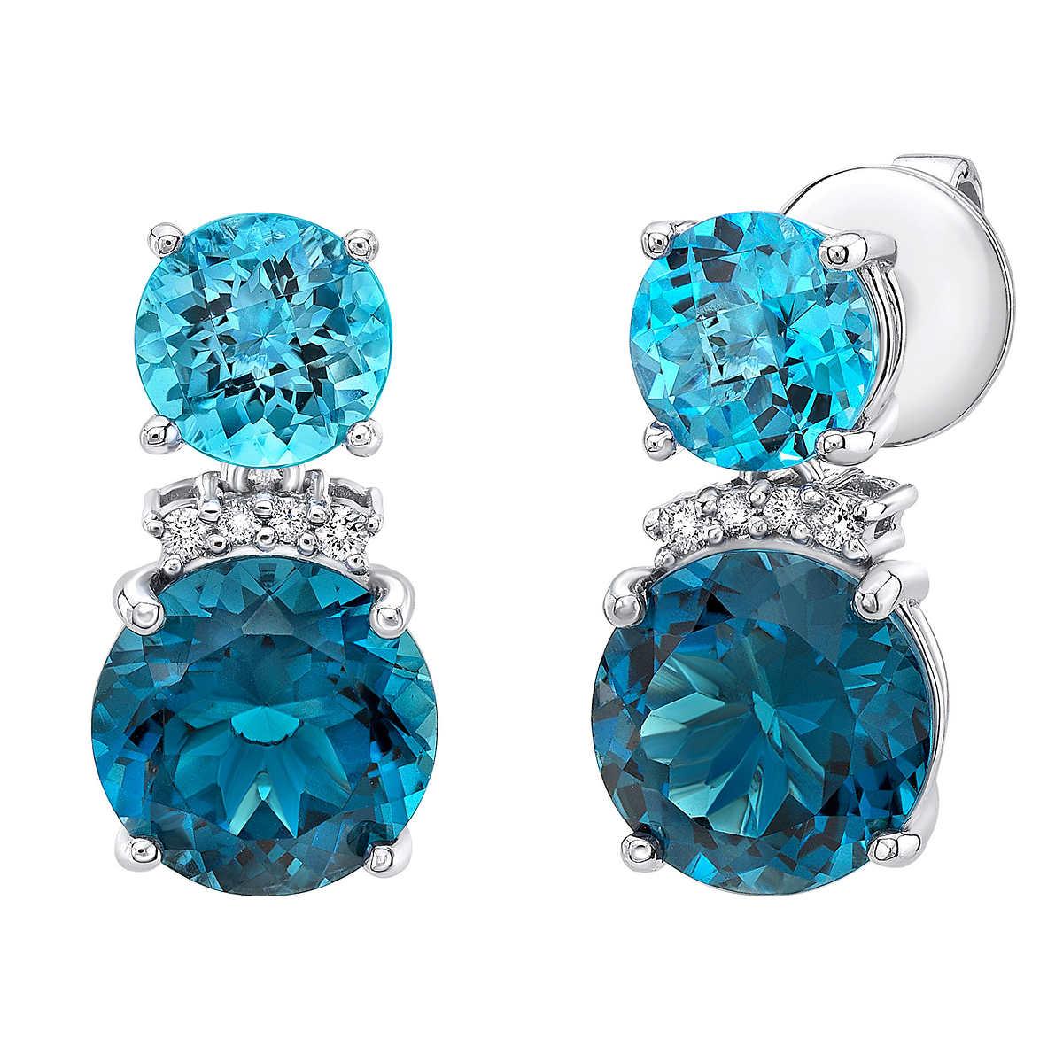 Member Only Item Blue Topaz And Diamond 14kt White Gold Earrings