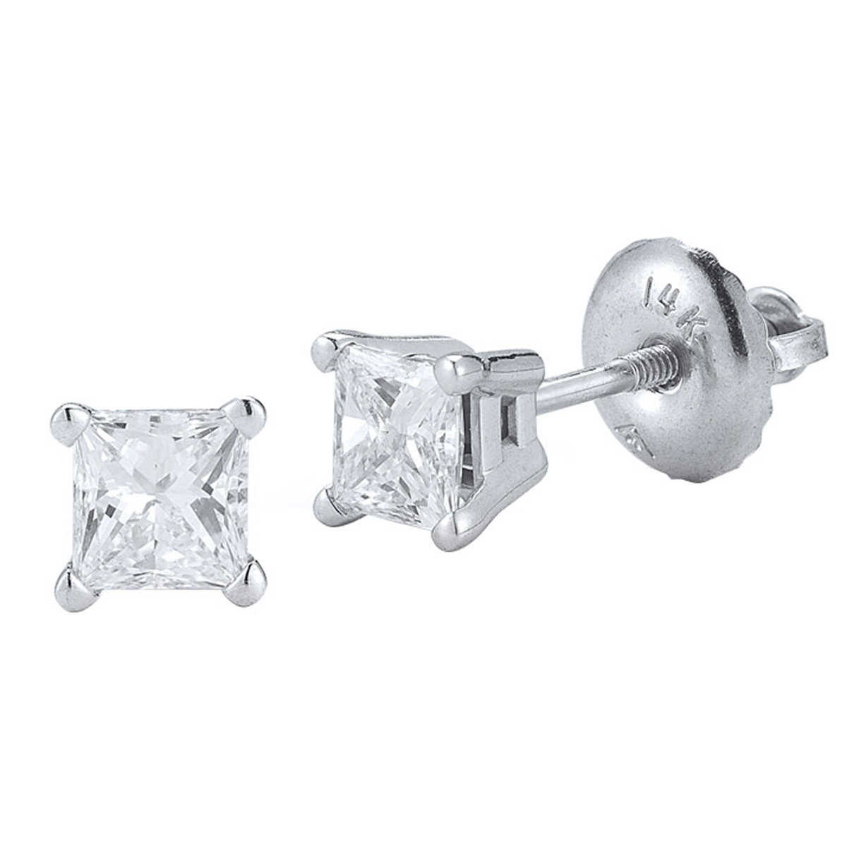 Princess Cut 140 Ctw Vs2 Clarity, I Color Diamond 14kt White Gold  Screwback Stud Earrings