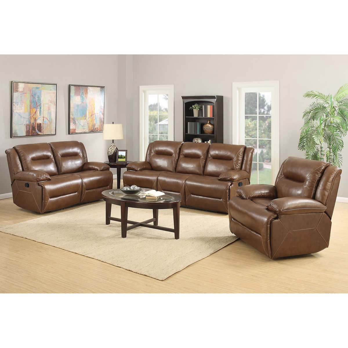 Hartley 3 Piece Top Grain Leather Reclining Set