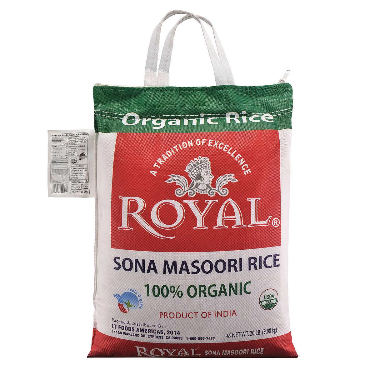 Royalanic Sona Masoori Rice, 20 Lbs