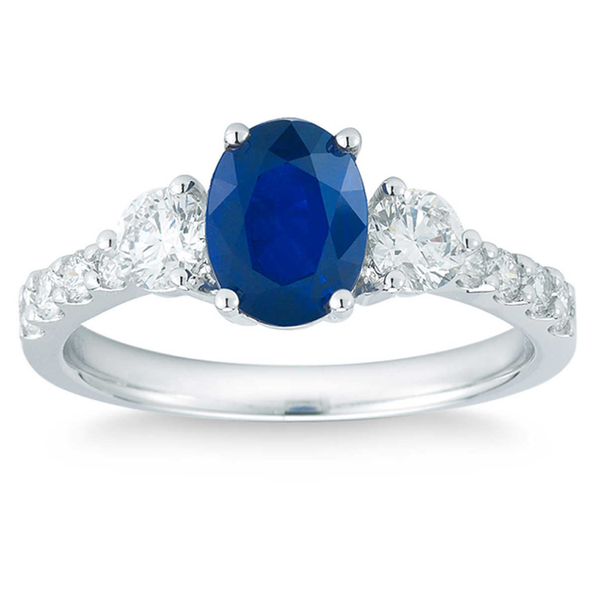 Oval Blue Sapphire And Diamond 14kt White Gold Ring
