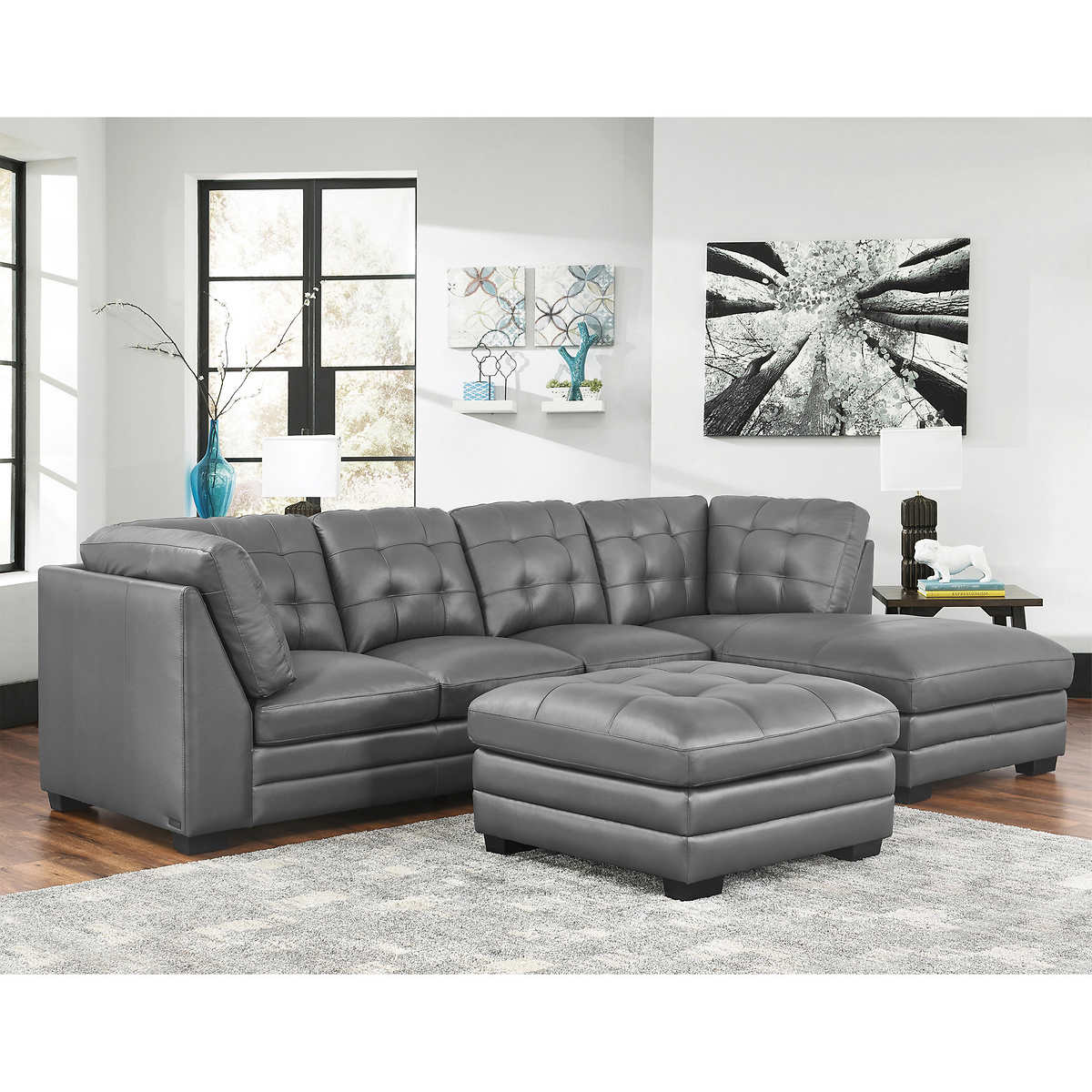 Lawrence Top Grain Leather Sectional With Ottoman