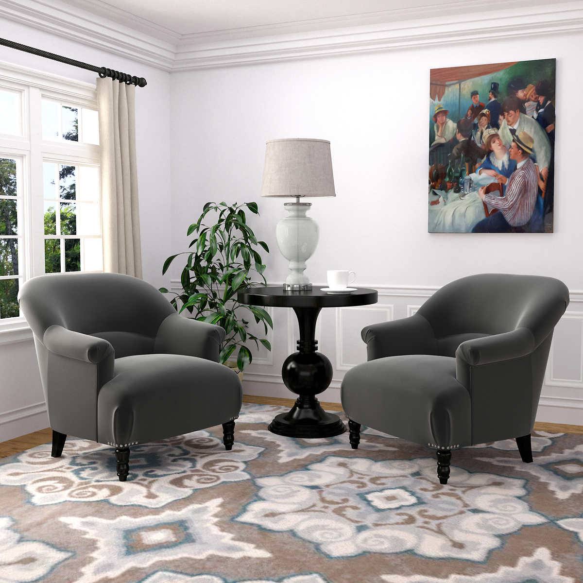 Jackie 2 Pack Fabric Accent Chairs Gray