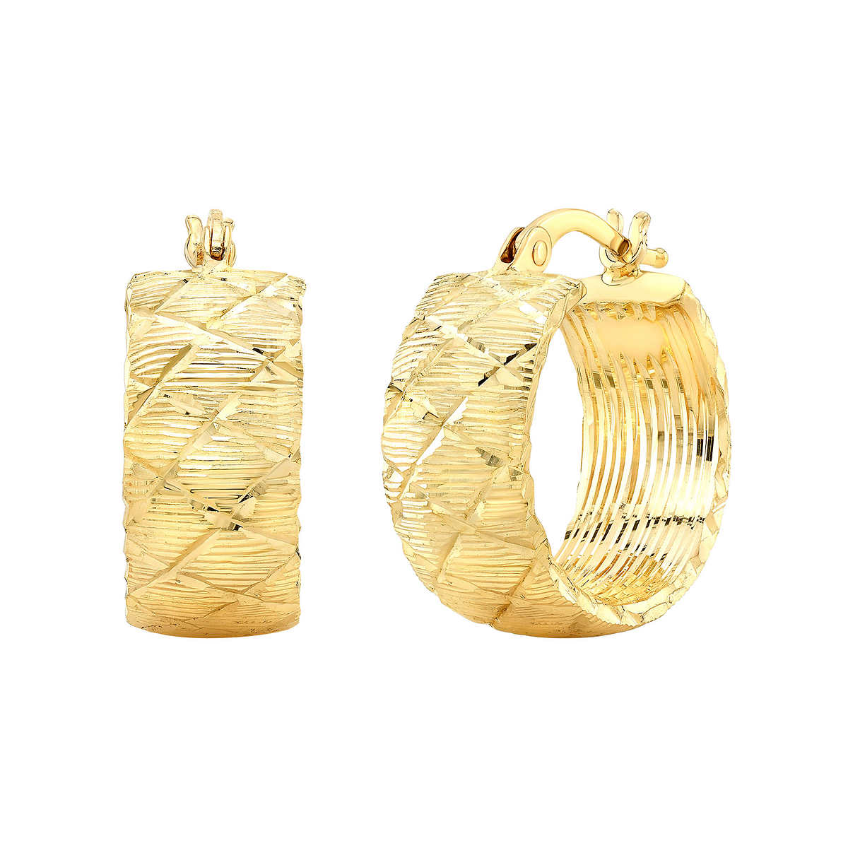14kt Yellow Gold Diamond Cut Earrings