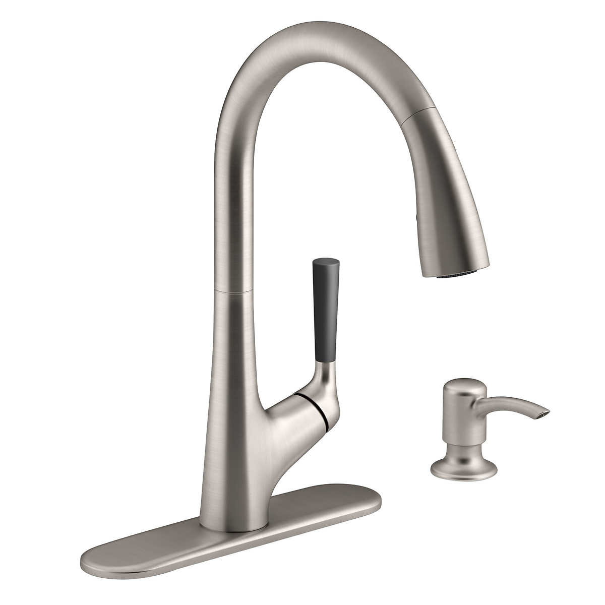 Kohler malleco pull down kitchen sink faucet with soap for Faucet and soap dispenser placement