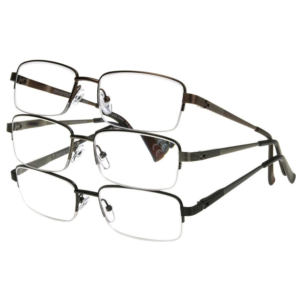 2588b91355dd Design Optics By Foster Grant, Semi-rimless Metal Reading Glasses, 3 ...