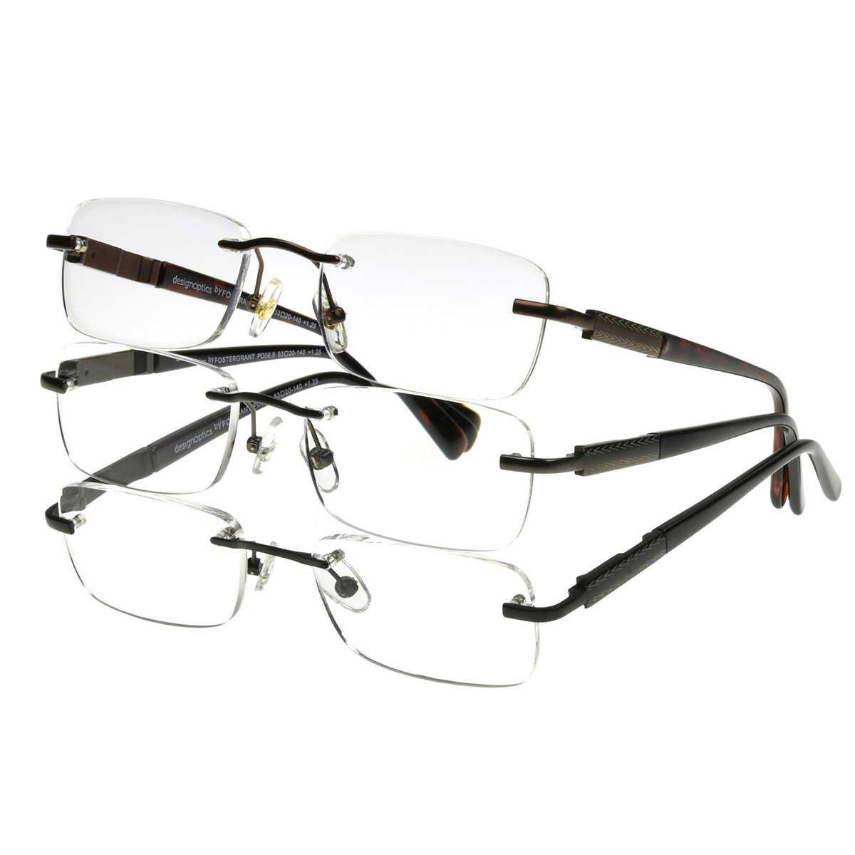 Design Optics By Foster Grant Ladies Semi-Rimless 3-pack Reading Glasses