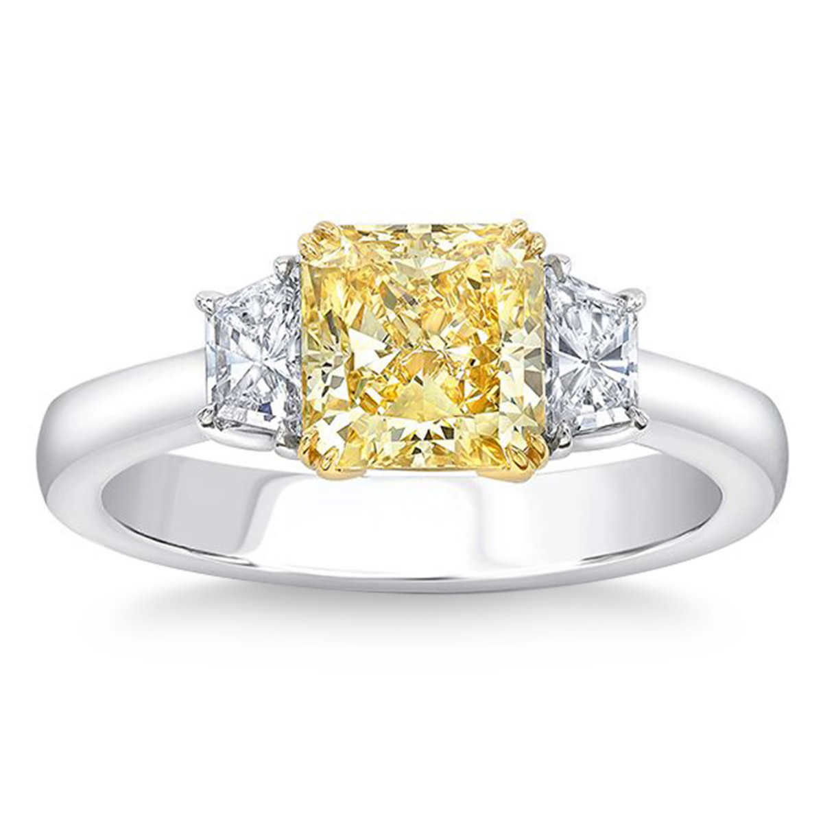 rings wedding rings dollars Radiant Cut 2 53 ct VVS2 Clarity Fancy Vivid Yellow Diamond Platinum 2 93 ctw Ring