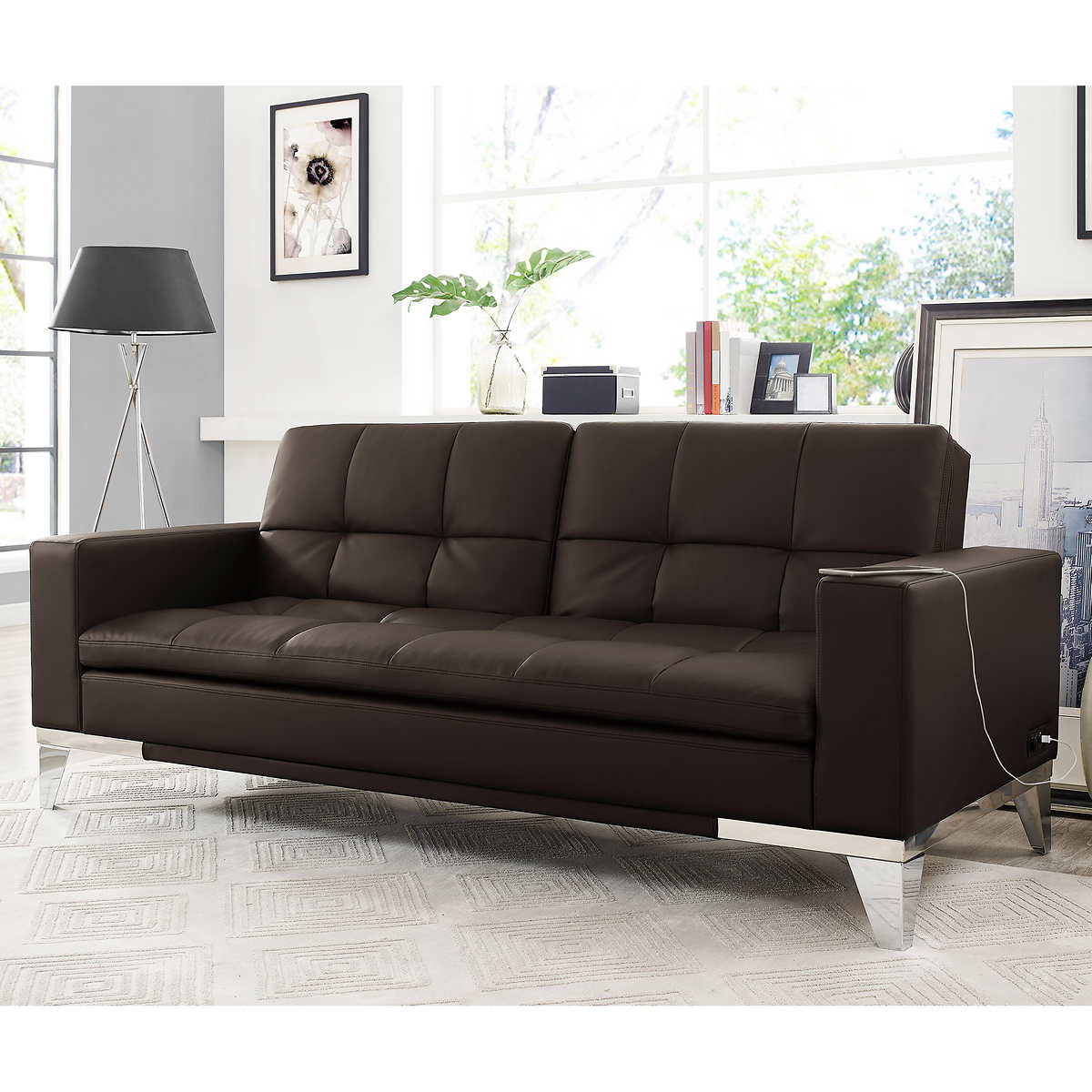 Leather Sofas   Sectionals   Costco Brooklyn Bonded Leather Euro Lounger   Brown. Costco Living Room. Home Design Ideas