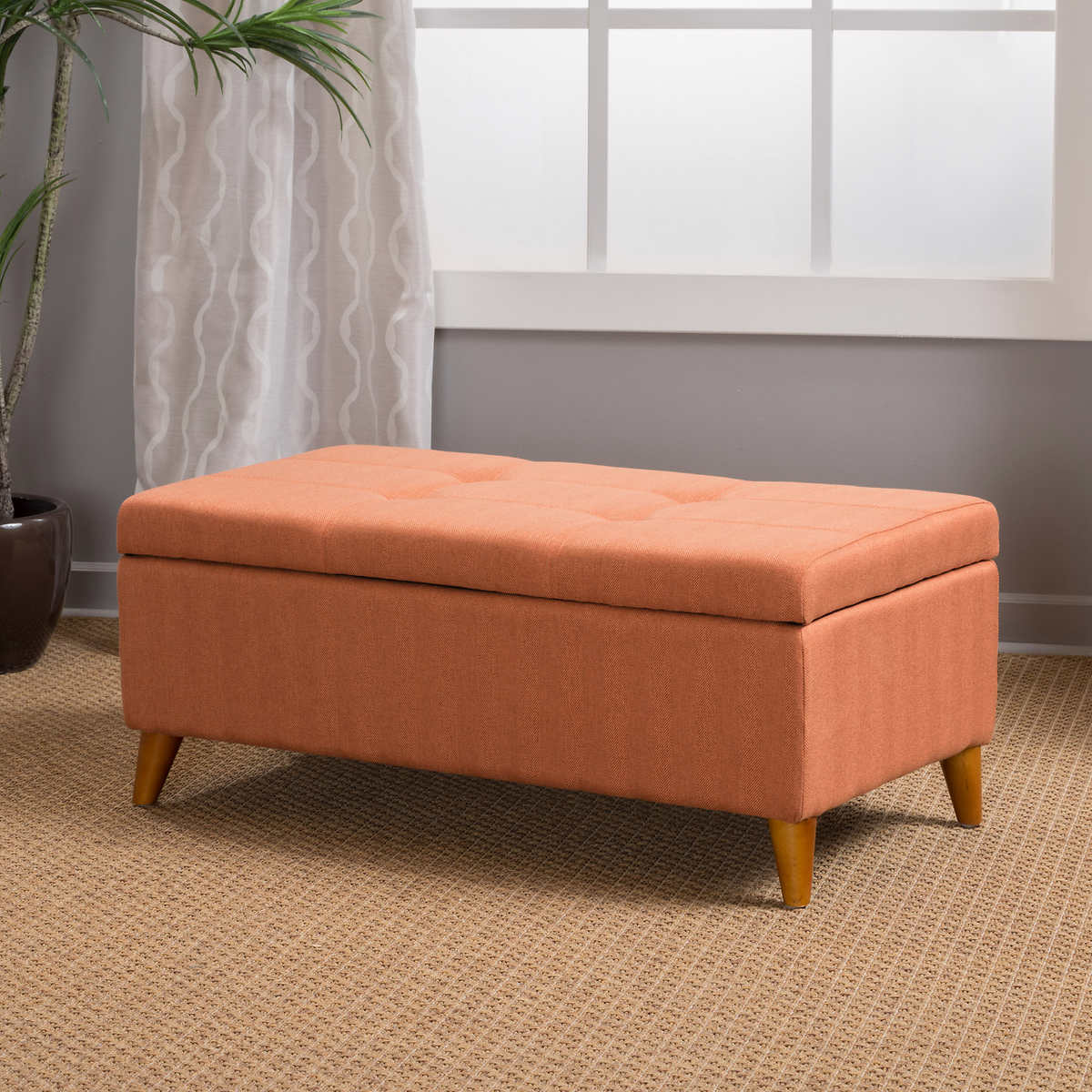 Maddox Storage Bench, Orange - Ottomans & Benches Costco