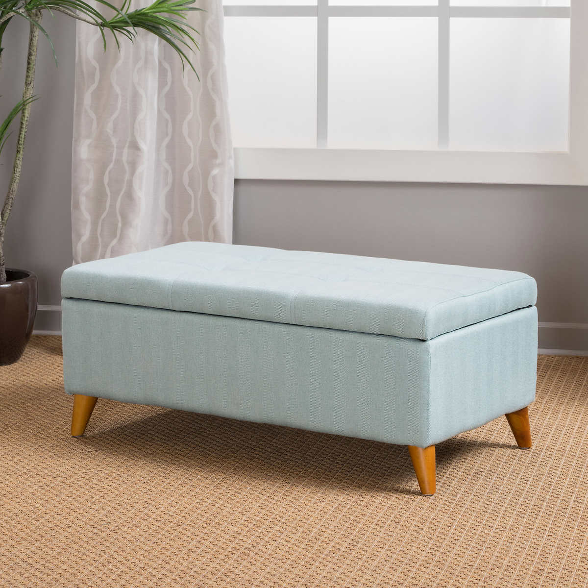 ottomans  benches  costco - maddox storage bench light blue