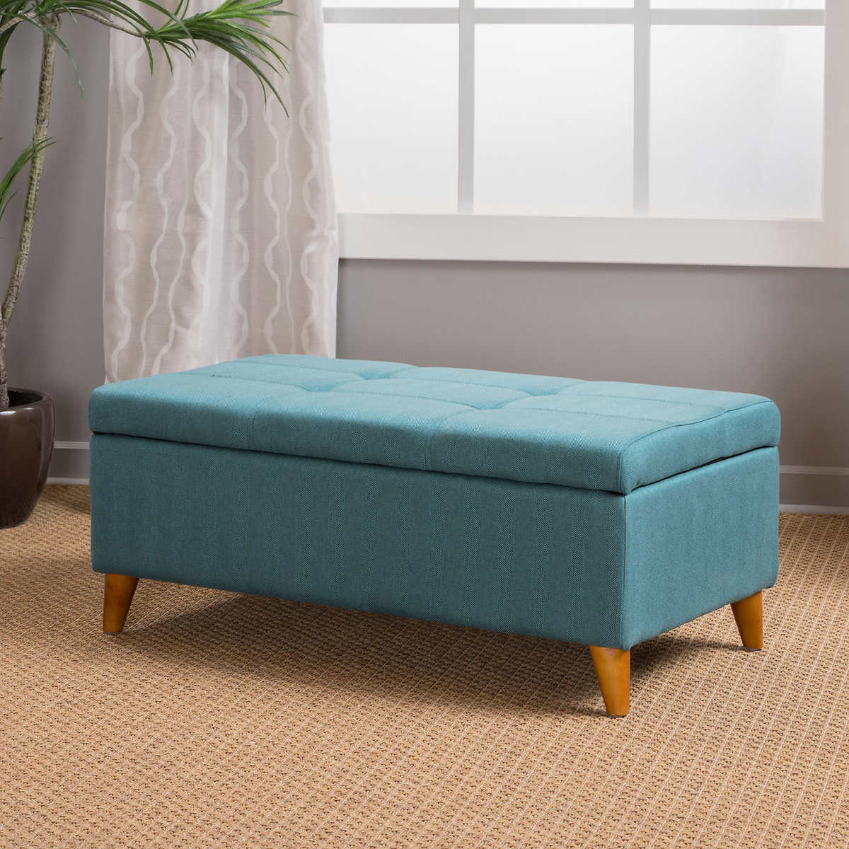 ottomans  benches  costco - maddox storage bench blue