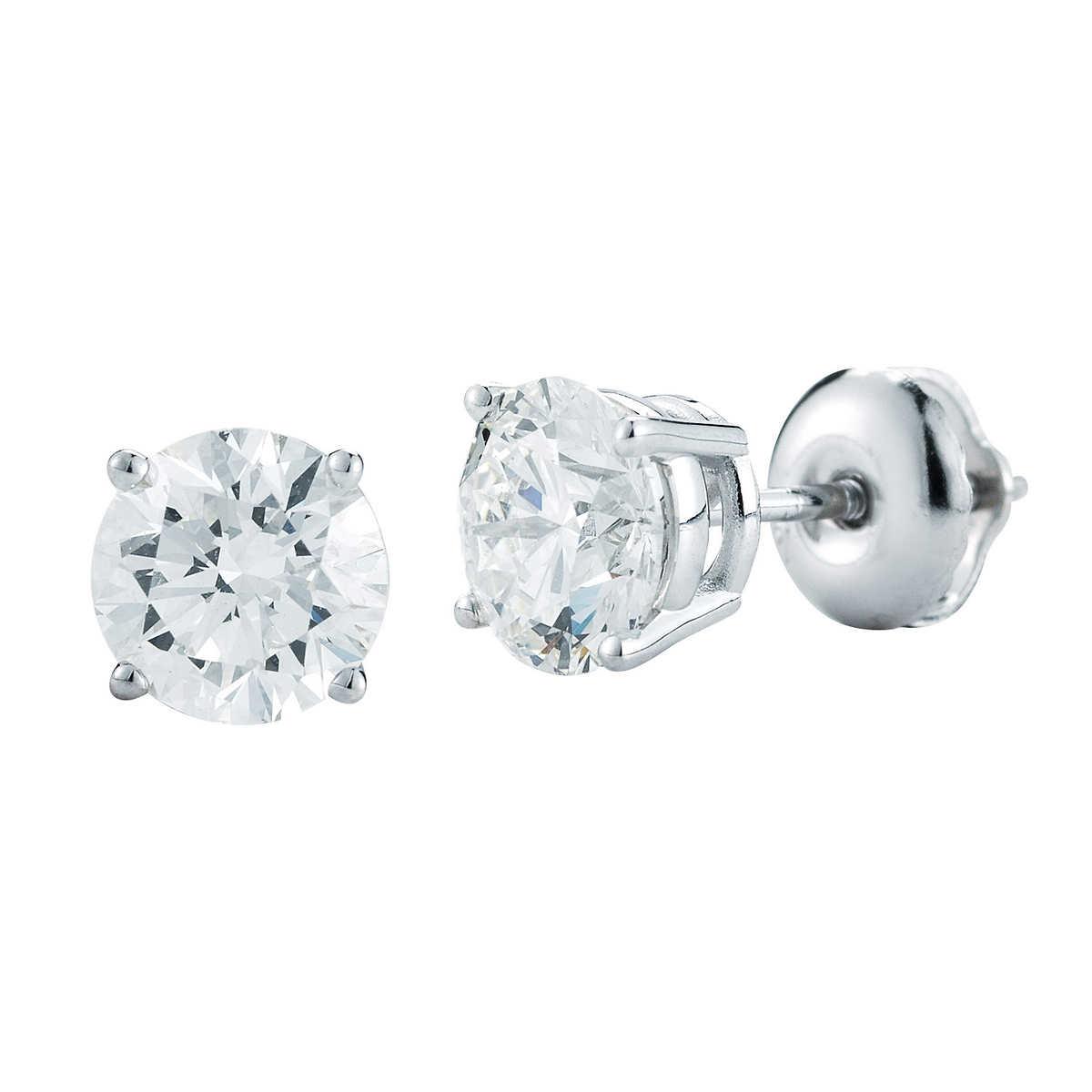 Round Brilliant 100 Ctw Vs2 Clarity, I Color Diamond Platinum Screwback Stud  Earrings