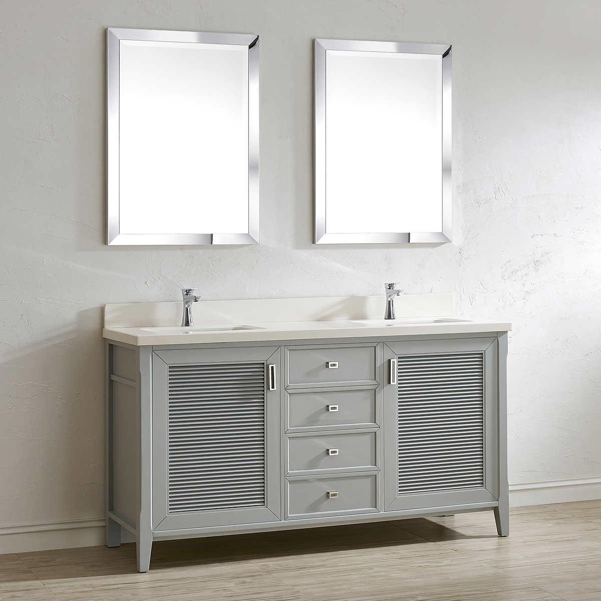 Aurora 63  Oxford Gray Double Sink Vanity by Studio Bathe. Double Sink Vanities