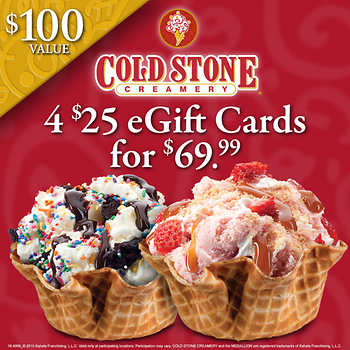 cold stone creamery gift card cold stone creamery 174 4 25 00 e gift cards 6162