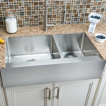 Hahn Chef Series Extra Large 60 40 Flat Front Farmhouse Sink