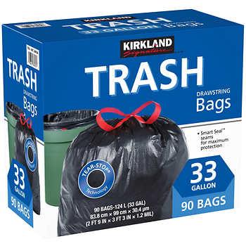 kirkland signature 33 gallon black drawstring trash bag 90 count. Black Bedroom Furniture Sets. Home Design Ideas