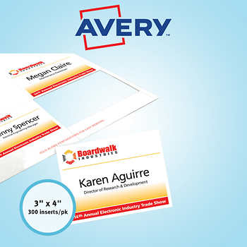 Avery name badge refill inserts white 3 x 4 300ct ave 5392 for Avery name badge template 5392