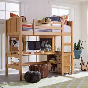 Radia Twin Study Loft Bed Natural