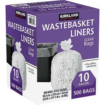 kirkland signature 10 gallon clear wastebasket liner 500 count. Black Bedroom Furniture Sets. Home Design Ideas