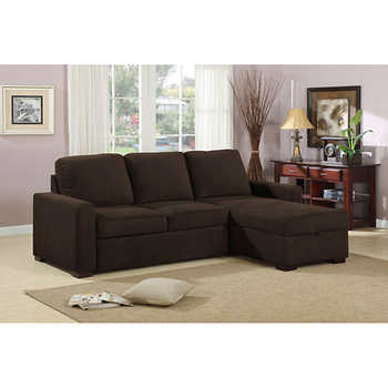 Chester Pullout Sofa With Storage Chaise Java