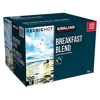 Kirkland Signature Breakfast Blend Fair Trade K-Cup Pods, Pack of 100