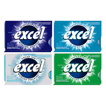 Excel Sugar-free Gum, Variety Pack, 12 Pieces, Pack of 27
