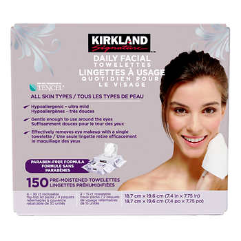 Kirkland Signature Daily Facial Towelettes, Pack of 150
