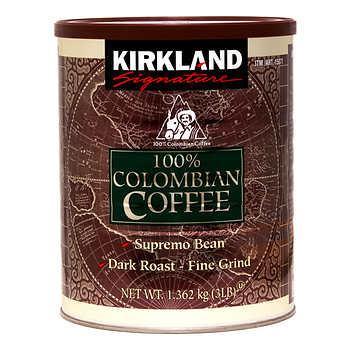 Kirkland Signature Dark Colombian Ground Coffee, 1.36 kg