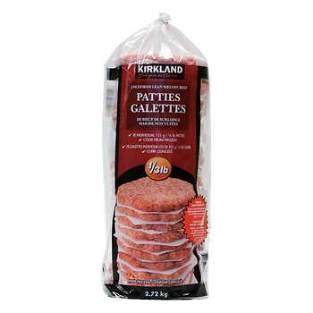 Kirkland Signature Lean Sirloin Ground Beef Patties, 18 × 151 g