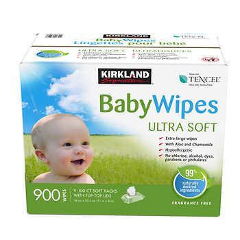 Kirkland Signature Ultra-soft Baby Wipes, 9 Packs of 100