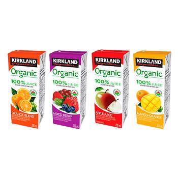Kirkland Signature Organic Juice, Assorted Flavours, 40 × 200 mL