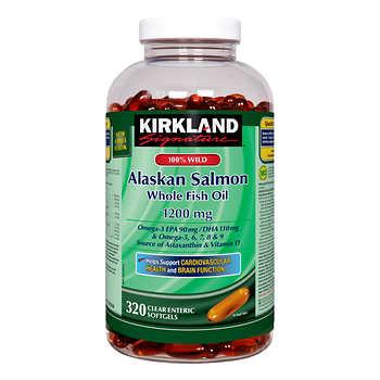 Kirkland Signature 100% Wild Alaskan Salmon Whole Fish Oil, 320 Softgels