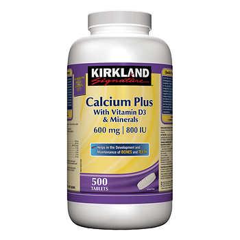 Kirkland Signature Calcium Plus, 500 Tablets