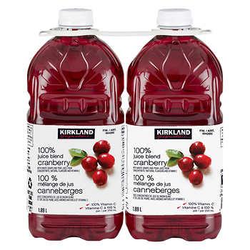 Kirkland Signature 100% Cranberry Juice Blend, 2 × 1.89 L