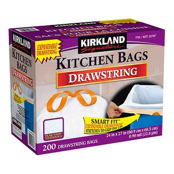 Kirkland Signature Drawstring Kitchen Bags, Pack of 200