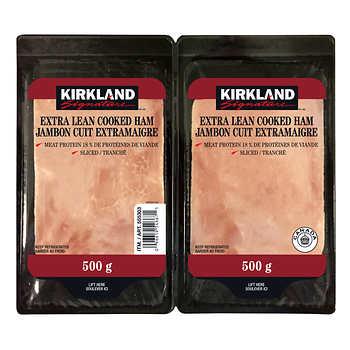 Kirkland Signature Extra-lean Sliced Ham, 2 × 500 g