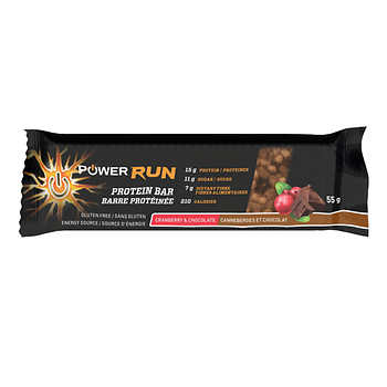 Power Run Energy Cranberry and Chocolate Protein Bars, 12 × 55 g (1.9 oz)