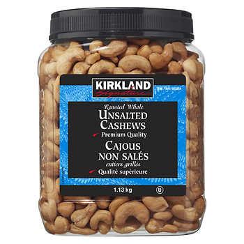 Kirkland Signature Unsalted Whole Cashews, 1.13 kg