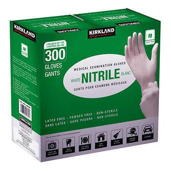 Kirkland Signature White Nitrile Examination Gloves, Size Medium, 2 packs of 150