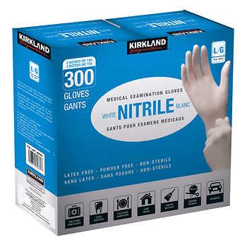 Kirkland Signature White Nitrile Examination Gloves, Size Large, 2 Packs of 150