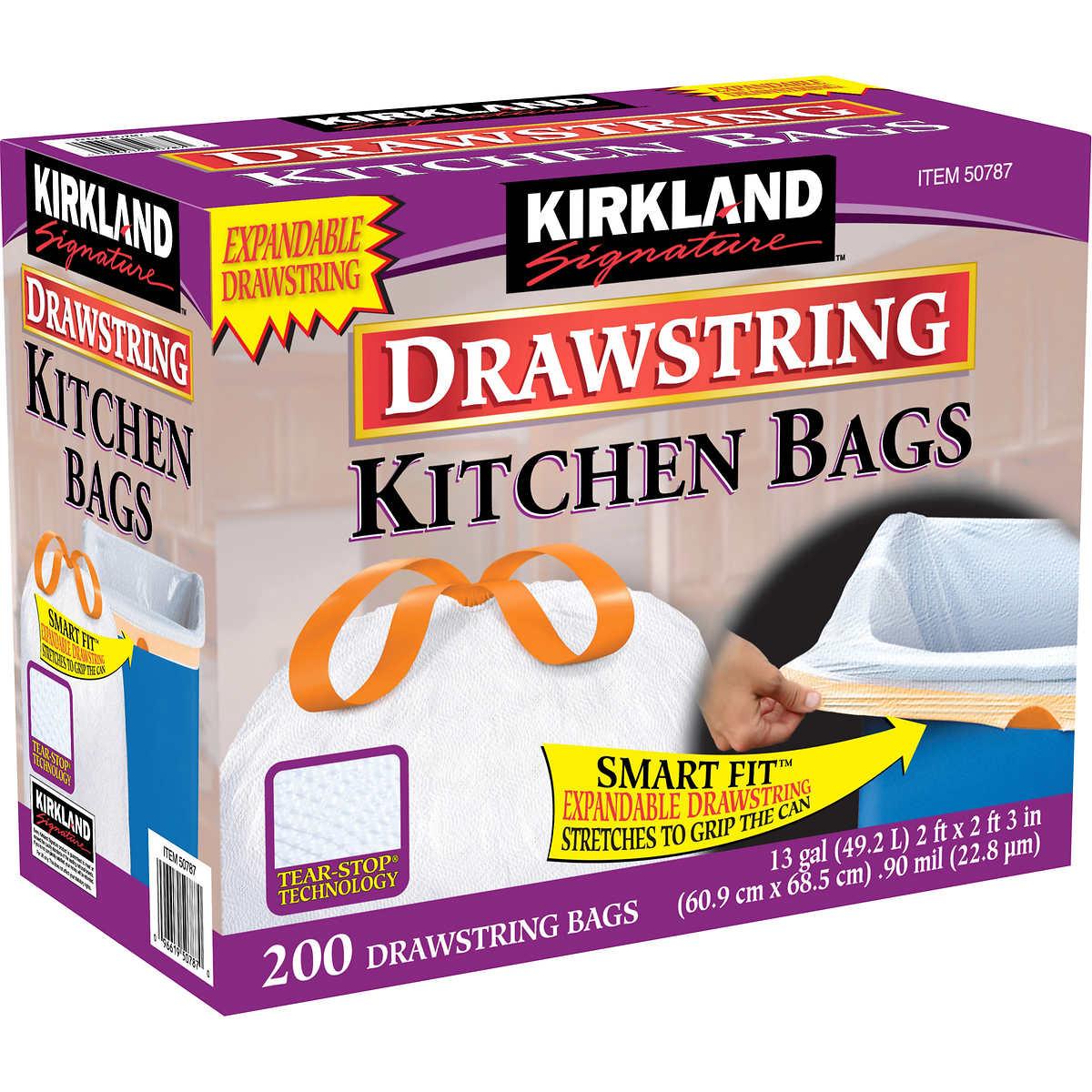 Kirkland Signature 13 Gallon Drawstring Kitchen Trash Bag, White ...