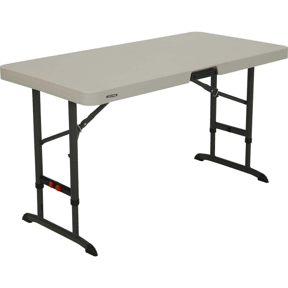 "Lifetime Adjustable Height Folding Table 48""L x 24""W x 24 34""H"