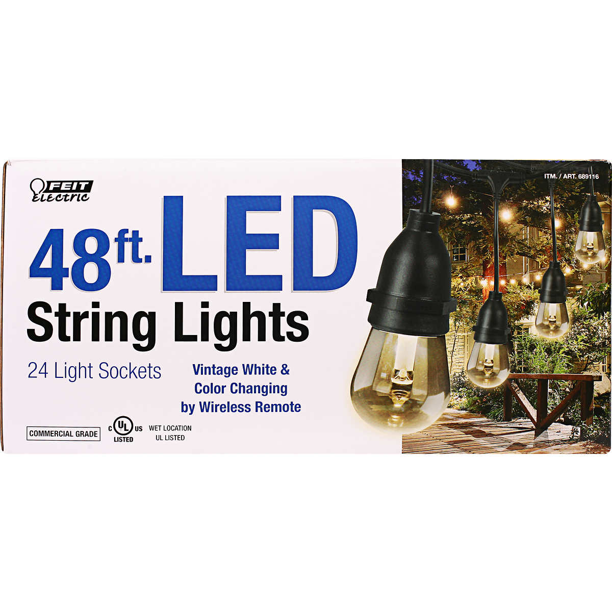 Feit 48ft (14.6m) LED Indoor/Outdoor Waterproof Colour Changing String Lights eBay